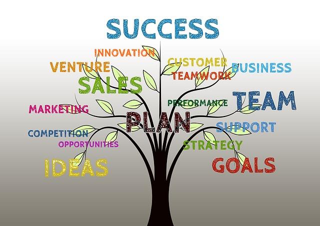 podnikatelské plány, sny – strom, který nese na větvích různá slova – koncept